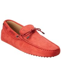 Tod's Red Gommino Suede Driving Shoe for men