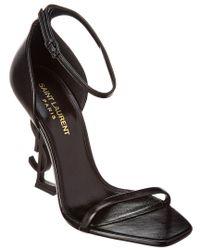 Saint Laurent Black Opyum Leather Sandal