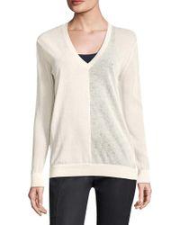Halston Heritage White V-neck Sweater