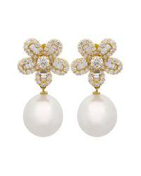 Assael Metallic South Sea & Akoya Pearl 18k 2.19 Ct. Tw. Diamond 13.3x12.3mm South Sea Pearl Earrings