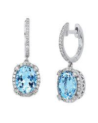 Effy Blue Fine Jewelry 14k 3.88 Ct. Tw. Diamond & Aquamarine Drop Earrings