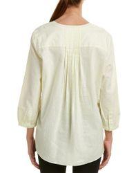 NYDJ Green Pleated Back Linen-blend Blouse