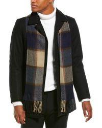 Tommy Hilfiger Black Wool Melton Walking Coat With Detachable Scarf for men
