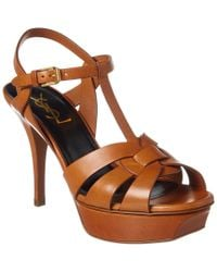 Saint Laurent Brown Tribute 75 Leather Sandal