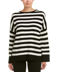 The Kooples White Striped Cashmere Sweater