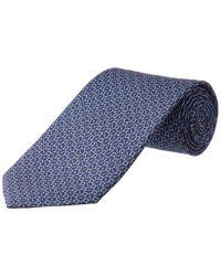Ferragamo Blue Navy Gancio Silk Tie for men