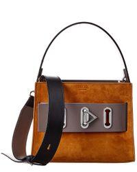 SALAR MILANO Orange Ludo Suede & Leather Shoulder Bag