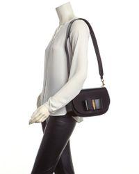 Ferragamo - Black Anna Small Vara Lux Leather Shoulder Bag - Lyst