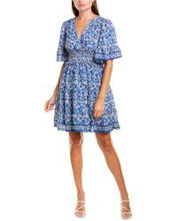 Max Studio Blue Smocked Mini Dress