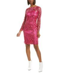 Tahari Red Illusion Sheath Dress