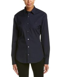 Burberry - Blue Check Detail Stretch Cotton Poplin Shirt - Lyst