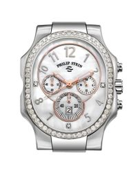 Philip Stein Metallic Classic Diamond Chronograph Watch Case - Extra Large