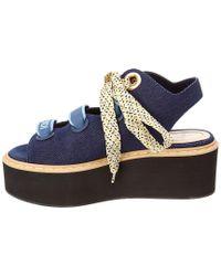 Fendi Blue Denim Platform Sandals