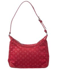 Louis Vuitton Red Monogram Satin Boulogne Pm