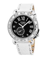 Fendi Metallic Selleria Diamond Chronograph Watch