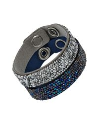 Swarovski Blue Crystal Rock 5089700 & Silver Alcantara Wrap Snap Button Bracelet Set For