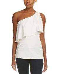 Susana Monaco White One-shoulder Flutter Top