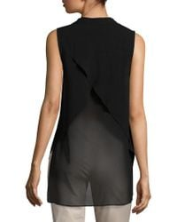 BCBGeneration - Black High-low Criss-cross Blouse - Lyst