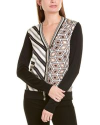 Tory Burch Black Mix Print Silk Front V-neck Button-front Cardigan