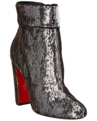 Christian Louboutin Metallic Moulamax 100 Sequin Embossed Ankle Boot