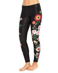 Terez Black Floral Juju Legging