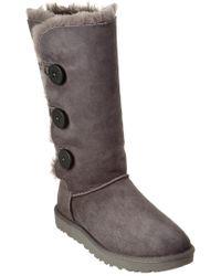 Ugg - Gray Women's Bailey Button Triplet Ii Water-resistant Twinface Sheepskin Boot - Lyst