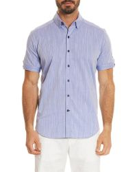 Robert Graham Blue Tailored Fit Livingston Short Sleeve Shirt for men