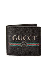 Gucci Black Logo Print Leather Bifold Wallet for men
