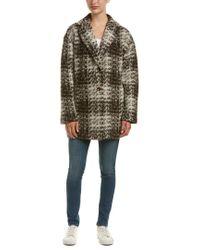 Bernardo Brown Tweed Wool & Mohair-blend Coat