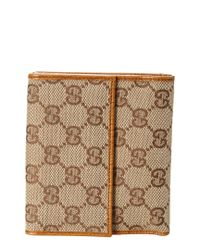 Gucci Brown Gg Supreme Canvas & Leather Bamboo Wallet