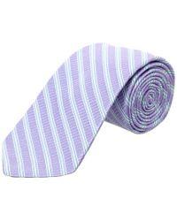 Ike Behar Purple Lilac Cabana Stripe Silk Tie for men
