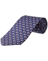 Ferragamo Blue Elephant Silk Tie for men
