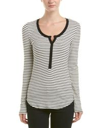 Three Dots White Ribbed Faux Henley Top