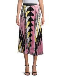 MSGM Pink Pleated Print Midi Skirt