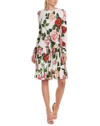 Dolce & Gabbana Multicolor Rose-print Drop-waist Dress