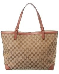 Gucci Brown GG Canvas & Pink Leather Craft Tote Gm