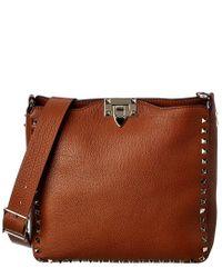 Valentino Brown Rockstud Small Leather Hobo Bag