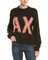 Armani Exchange Black Dropped-shoulder Wool-blend Sweater