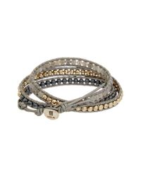 Chan Luu - Metallic Silver Leather Gemstone Wrap Bracelet - Lyst