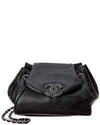 1026fc19a6a2 Chanel Black Ultra Soft Leather Sensual Accordion Flap Bag in Black ...
