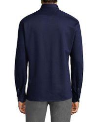 Luciano Barbera Blue Long Sleeve Cotton Button Down Shirt for men