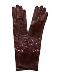 Portolano - Multicolor Black Currant Silk-lined Leather Gloves - Lyst