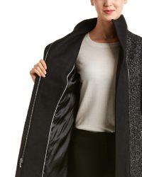 T Tahari Black Eva Wool-blend Coat