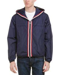 Moncler Blue Anton Webbing-trimmed Nylon Hooded Jacket for men
