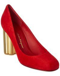 Ferragamo Red Lucca 85 Suede Flower Heel Pump
