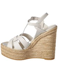 Saint Laurent White Espadrille 95 Leather Wedge Sandal
