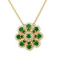 Diana M - Multicolor . Fine Jewelry 14k 1.13 Ct. Tw. Diamond & Green Emerald Necklace - Lyst