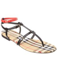 Burberry - Black Vintage Check & Leather Sandal - Lyst