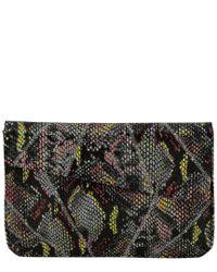 Inge Christopher Black Charlene Asymmetrical Leather Envelope Clutch