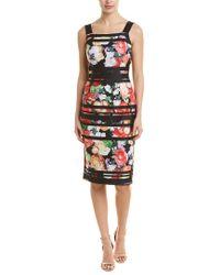 Adrianna Papell Striped Botanical Scuba Sheath (black Multi) Dress